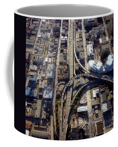 Partial T Interchange Coffee Mug featuring the photograph Aerial Of The Maze Near The Bay Bridge, San Francisco by Wernher Krutein