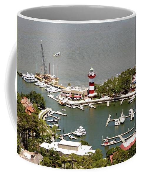 Aerial View Harbour Town Lighthouse In Hilton Head Island Coffee Mug featuring the photograph Aerial View Harbour Town Lighthouse In Hilton Head Island by Carol Highsmith