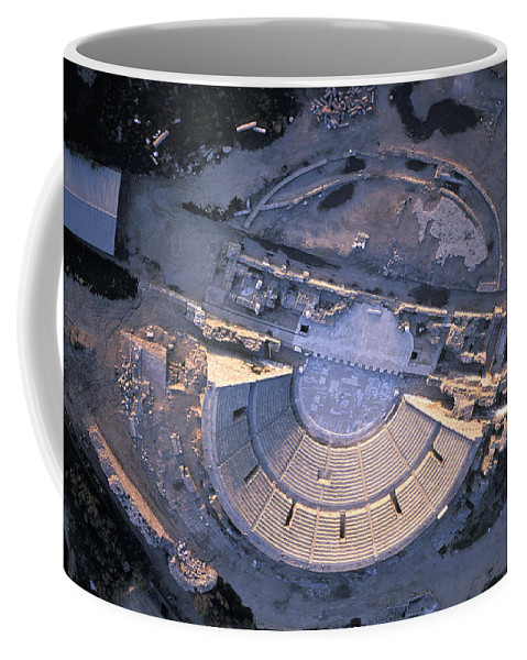 Aerial Coffee Mug featuring the photograph Aerial View Of Ancient Roman Theater by Richard Nowitz