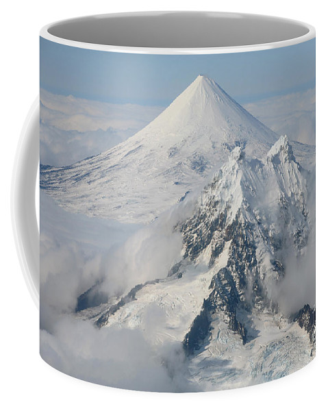 Aerial View Coffee Mug featuring the photograph Aerial View Of Shishaldin Volcano by Richard Roscoe