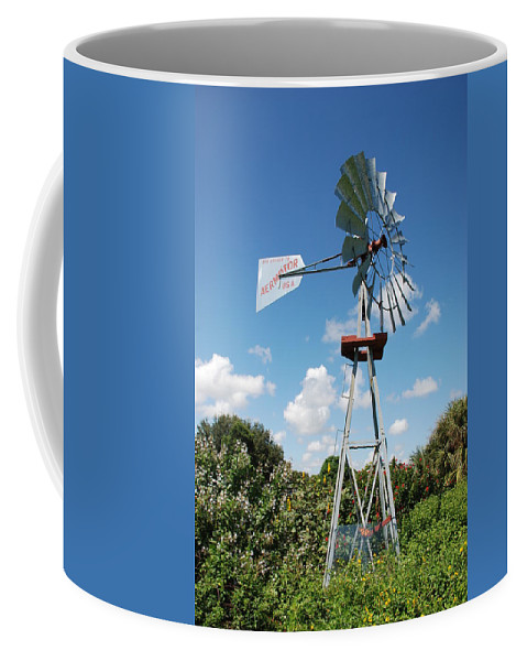 Blue Coffee Mug featuring the photograph Aeromotor Windmill by Rob Hans