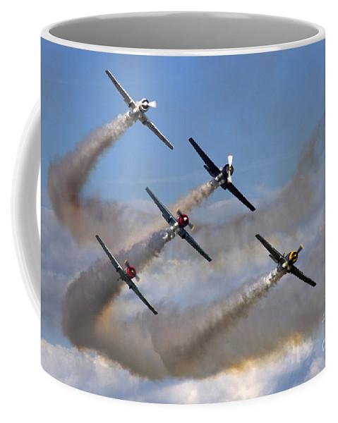 Aerostars Yak-50 Display Team Coffee Mug featuring the photograph Aerostars by Angel Ciesniarska