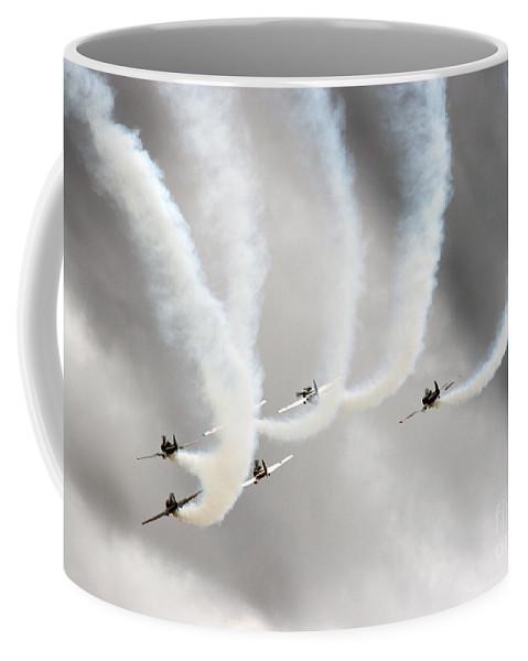 Aerostars Yak-50 Team Coffee Mug featuring the photograph Aerostars Yak-50 Display Team by Angel Ciesniarska