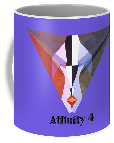 Painting Coffee Mug featuring the painting Affinity 4 text by Michael Bellon