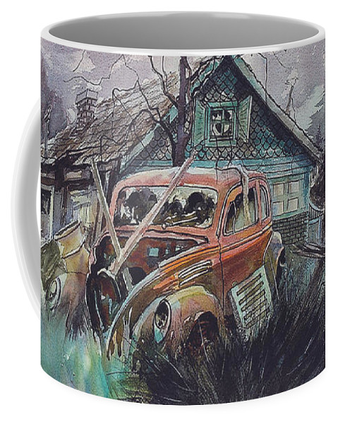 Ford Coffee Mug featuring the painting Affordable by Ron Morrison