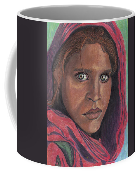National Geographic Coffee Mug featuring the drawing Afghan Girl by Jean Haynes