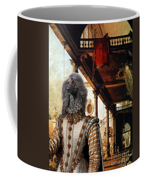 Afghan Hound Canvas Coffee Mug featuring the painting Afghan Hound-capriccio Of Colonade And The Courtyard Of A Palace Canvas Fine Art Print by Sandra Sij