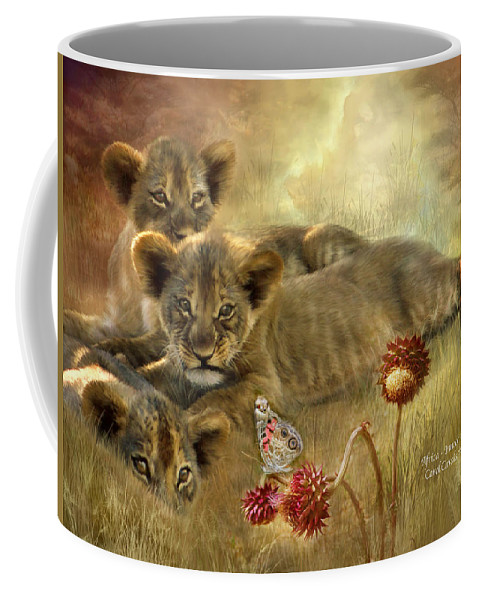 Lion Cubs Coffee Mug featuring the mixed media Africa - Innocence by Carol Cavalaris
