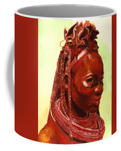 People Portrait Coffee Mug featuring the painting African Beauty by Portraits By NC