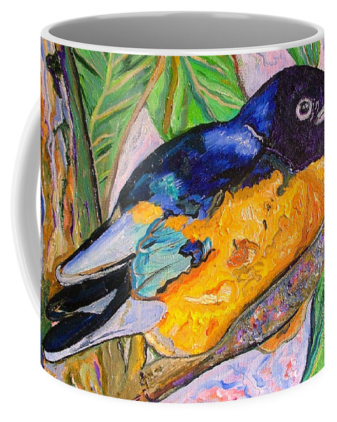 Starling Coffee Mug featuring the painting African Blue Eared Starling by Heather Lennox