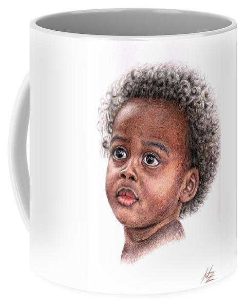 Child Coffee Mug featuring the drawing African Child by Nicole Zeug