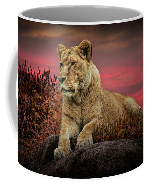 Lion Coffee Mug featuring the photograph African Female Lion In The Grass At Sunset by Randall Nyhof