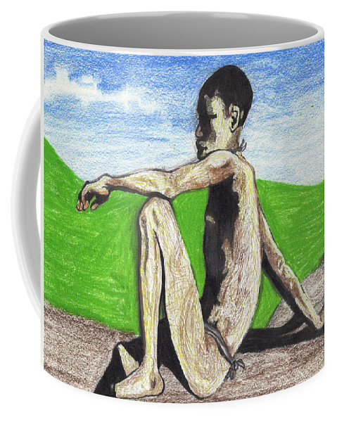 African Coffee Mug featuring the mixed media African Hunter by Jean Haynes