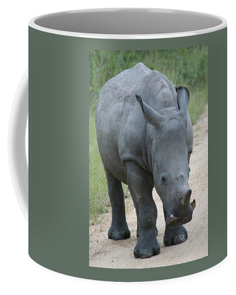 Rhino Coffee Mug featuring the photograph African Rhino by Suanne Forster
