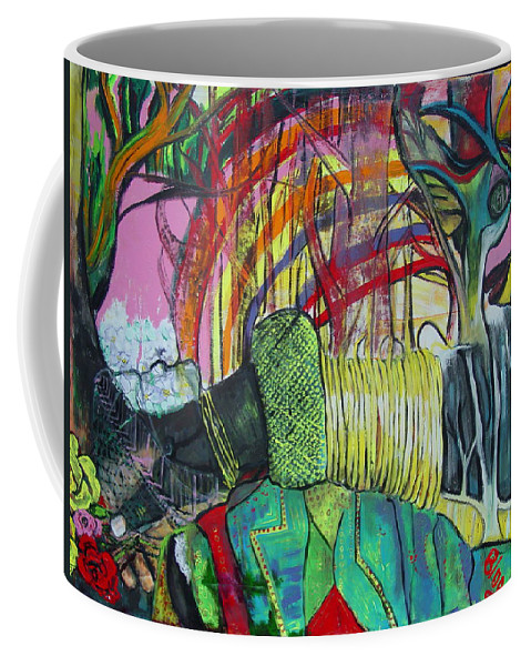 African Lady With Baby Coffee Mug featuring the painting African Roots by Peggy Blood