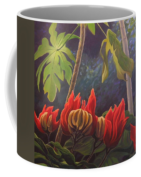 African Tulip Coffee Mug featuring the painting African Tulip by Hunter Jay