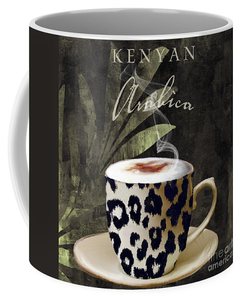Leopard Coffee Cup Coffee Mug featuring the painting Afrikan Coffees IIi by Mindy Sommers