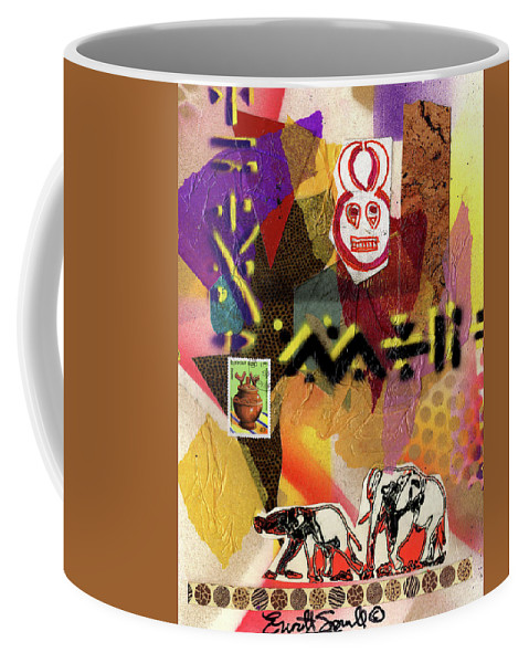 Everett Spruill Coffee Mug featuring the painting Afro Collage - O by Everett Spruill