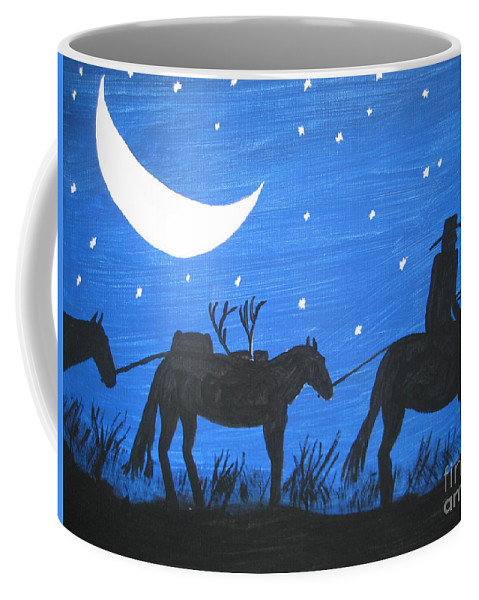 Blue Coffee Mug featuring the painting After The Hunt by Jeffrey Koss