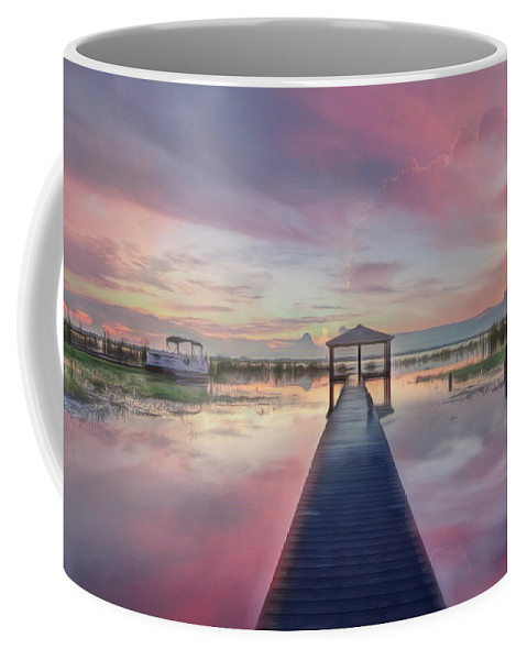 Boats Coffee Mug featuring the photograph After The Rain Sunrise Painting by Debra and Dave Vanderlaan