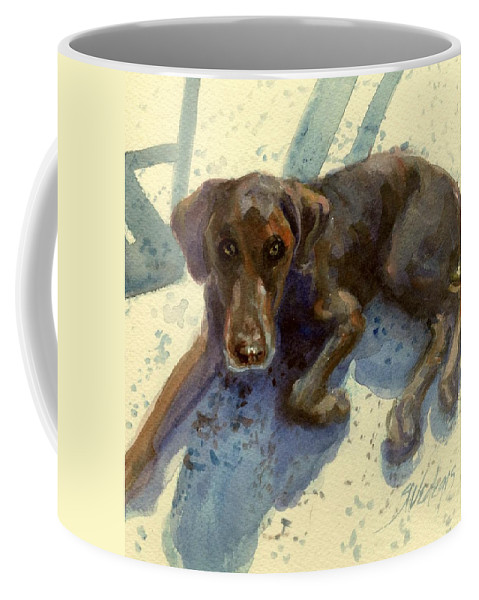 Resting Coffee Mug featuring the painting After The Swimming Event by Sheila Wedegis