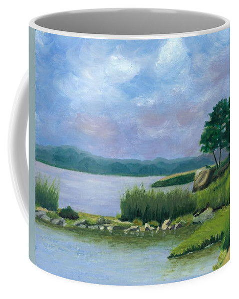 Seascape Coffee Mug featuring the painting Afternoon at Pilgrim by Paula Emery