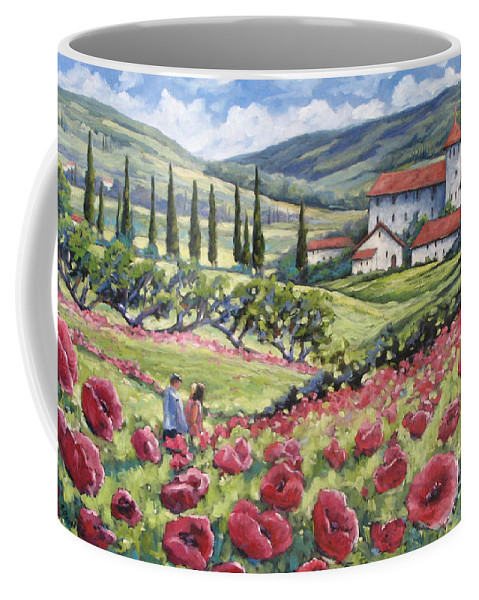 Tuscan Coffee Mug featuring the painting Afternoon Stroll by Richard T Pranke