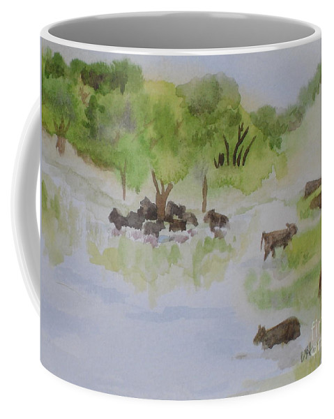 Cow Coffee Mug featuring the painting Afternoon Swim by Vicki Housel