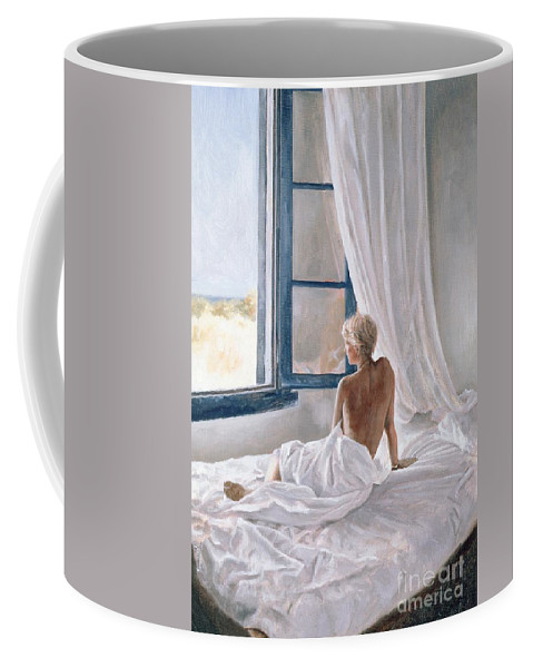 Bed; Sheets; Bedsheets; Window; Female; Nude; Bedroom; Nude Coffee Mug featuring the painting Afternoon View by John Worthington