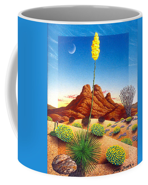 Agave Cactus Coffee Mug featuring the painting Agave Bloom by Snake Jagger