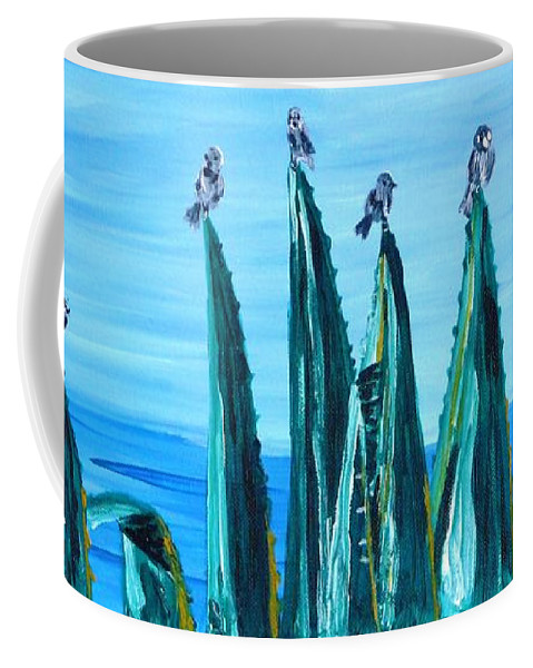 Landscape Coffee Mug featuring the painting Agave With Sparrows by Valerie Ornstein