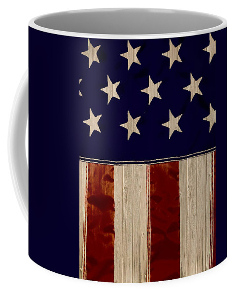 Aged Coffee Mug featuring the photograph Aged Rustic American Flag by Heather Joyce Morrill