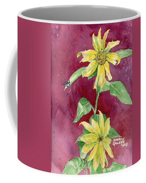 Sunflower Coffee Mug featuring the painting Ah Sunflowers by Andrew Gillette