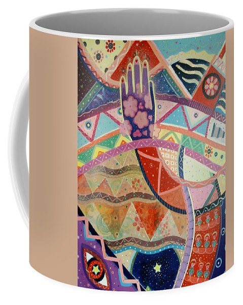Hand Coffee Mug featuring the painting Aim High by Helena Tiainen