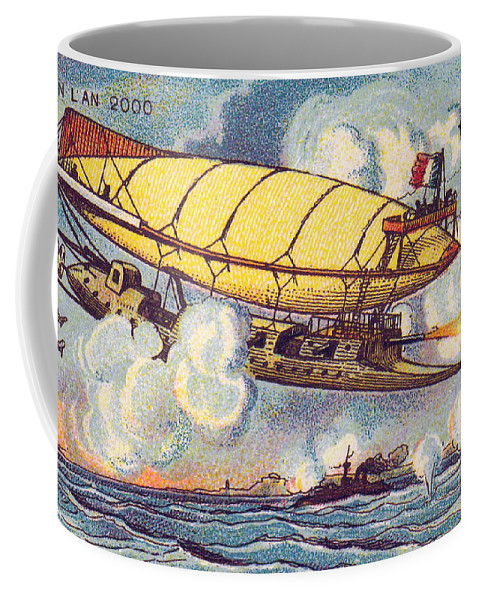 Science Coffee Mug featuring the photograph Air Battle, 1900s French Postcard by Science Source