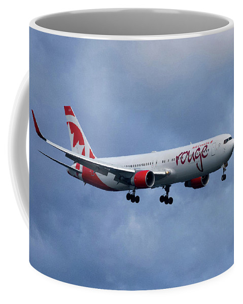 Air Canada Coffee Mug featuring the photograph Air Canada Rouge Boeing 767 by Smart Aviation