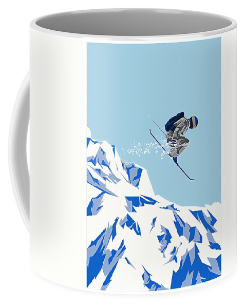 Sports Coffee Mug featuring the painting Airborn Skier Flying Down The Ski Slopes by Elaine Plesser