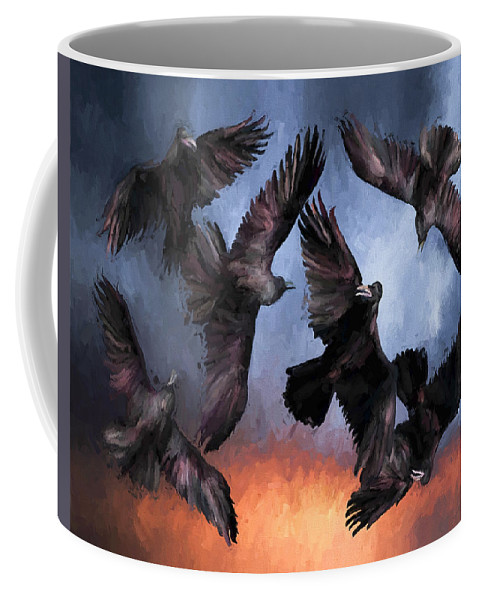 Fine Art Coffee Mug featuring the painting Airborne Unkindness by David Wagner