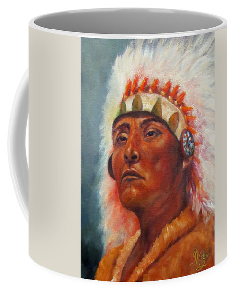 Native American Indian Coffee Mug featuring the painting Akecheta, Native American by Sandra Reeves