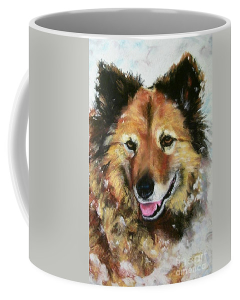 Dog Coffee Mug featuring the painting Akia by Frances Marino