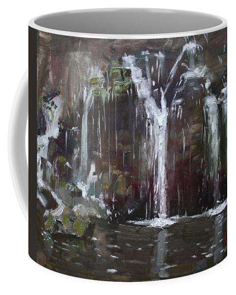 Akron Falls Coffee Mug featuring the painting Akron Falls by Ylli Haruni