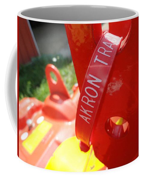 Red Coffee Mug featuring the photograph Akron Tractor by Trish Hale