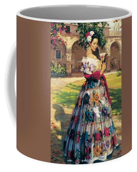 Woman Elaborately Embroidered Mexican Dress. Background Mission San Juan Capistrano. Coffee Mug featuring the painting Al Aire Libre by Jean Hildebrant