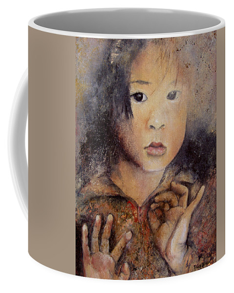 Vietnam Baby Portrait Coffee Mug featuring the painting Al Otro Lado by Tomas Castano