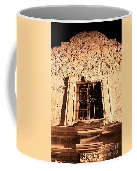 Alamo Coffee Mug featuring the photograph Alamo Night Window by Carol Groenen