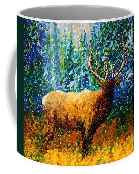 Abstract Coffee Mug featuring the painting Alaskan Elk Original Madart Painting by Megan Duncanson