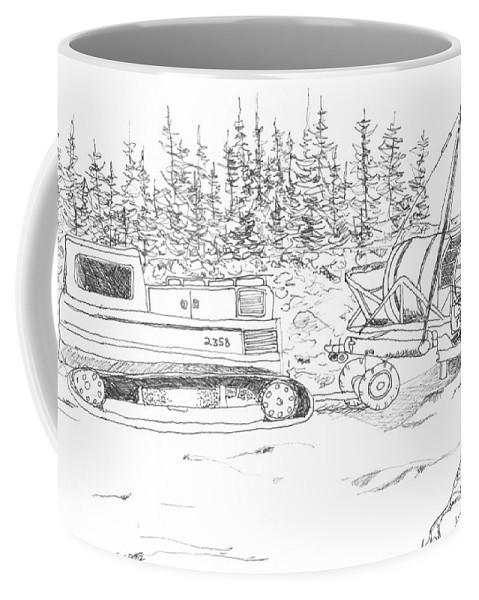 Sarah Hamilton Coffee Mug featuring the drawing Alaskan Gold Dredge by Sarah Hamilton