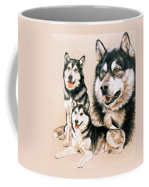 Working Breed Coffee Mug featuring the drawing Alaskan Malamute by Barbara Keith