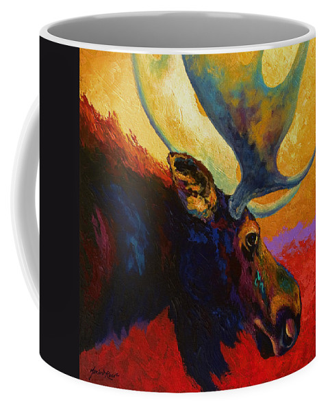 Moose Coffee Mug featuring the painting Alaskan Spirit - Moose by Marion Rose