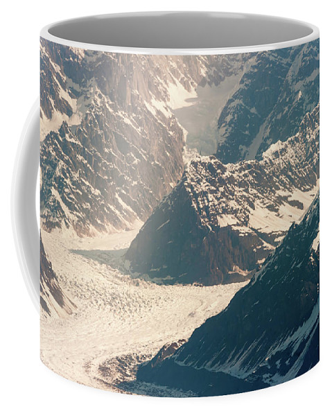 Alaska Glacier Coffee Mug featuring the photograph Alasks Glacier Range Denali Nation Park by Charles McCleanon